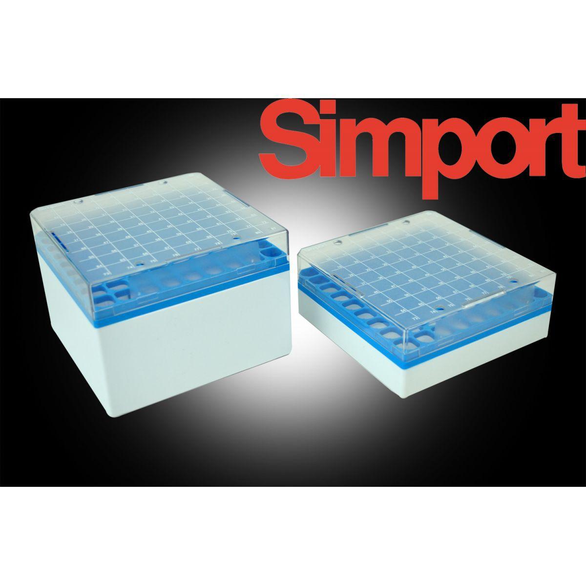 Caixa de armazenamento para 81 tubos de  3-5ml, grade azul - Modelo: T314-581B