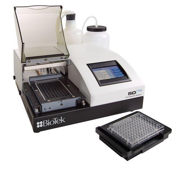 Lavadora automática para microplacas 96 poços, manifold de 8 canais, para separação biomagnética, troca automática de tampão, tela touchscreen, com frasco de descarte e reagente. Modelo 50TS8MV
