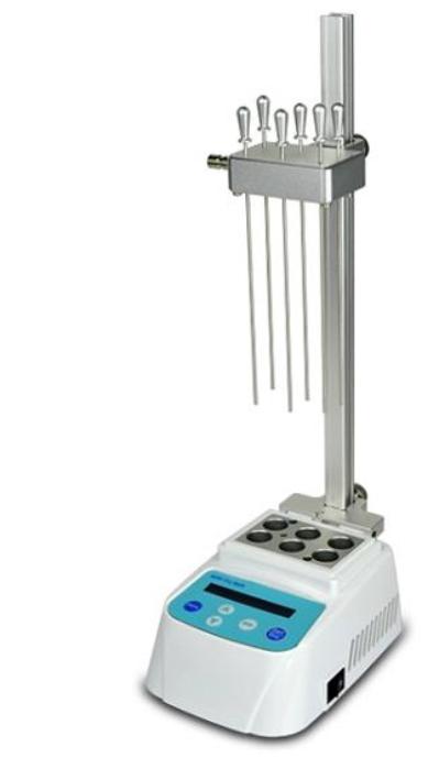 Mini concentrador de amostras digital para microtubos 0,2/2,0ml até tubos de ø40 mm com controlador de temperatura e válvula reguladora de fluxo. Modelo BIOMINI100N