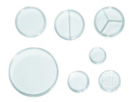 Placa de Petri 49x12 sem Divisória, Produto Estéril, Caixa com 100 pacotes ? Modelo: 0306-1
