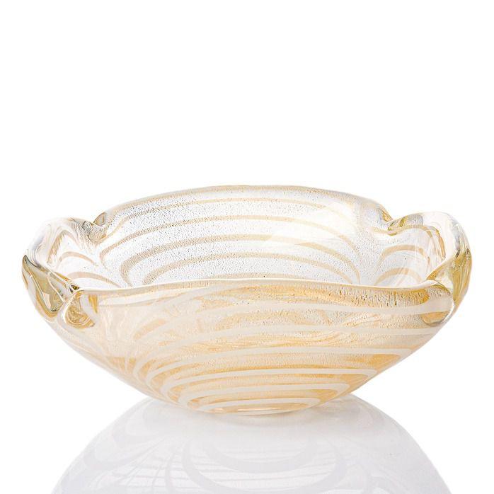 Bowl Selvaggio - Transparente com Ouro e Fios Brancos