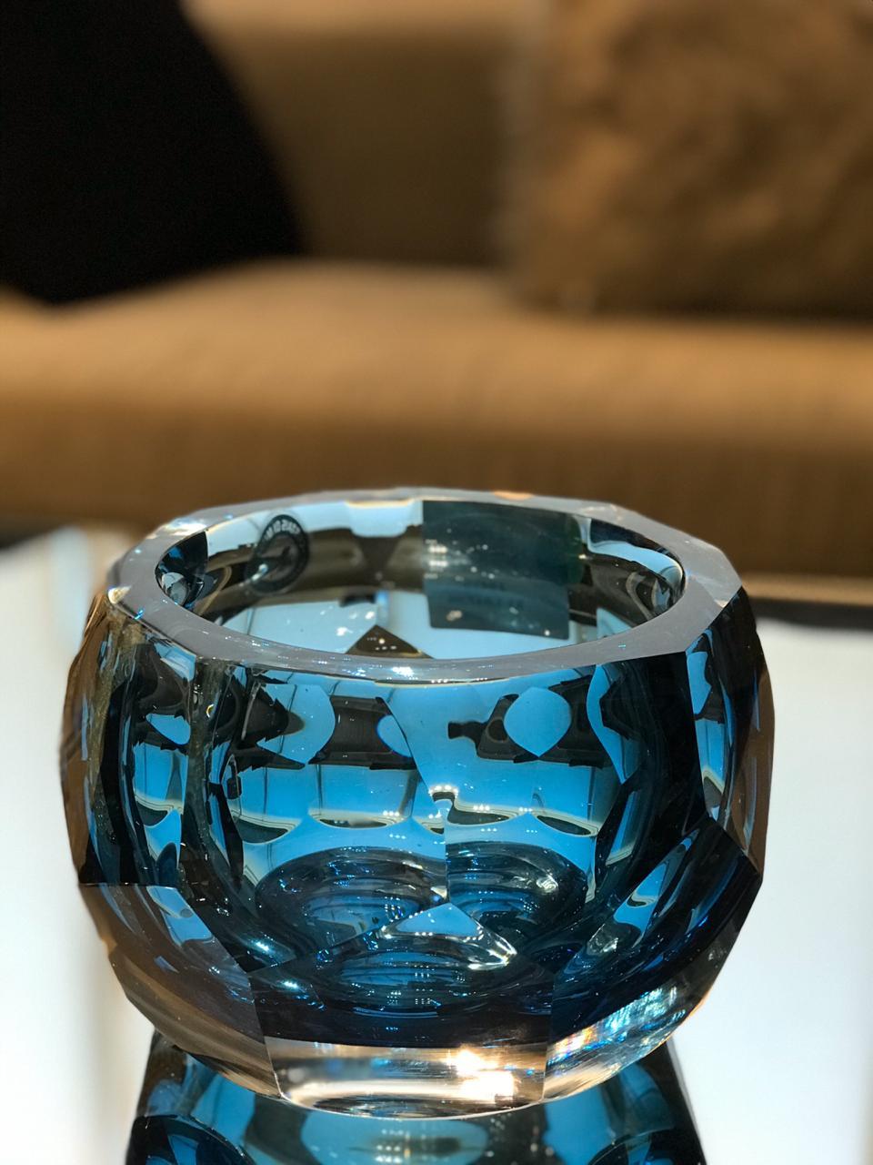 Cachepot Diamond Round Lapidado - Acqua Escuro P