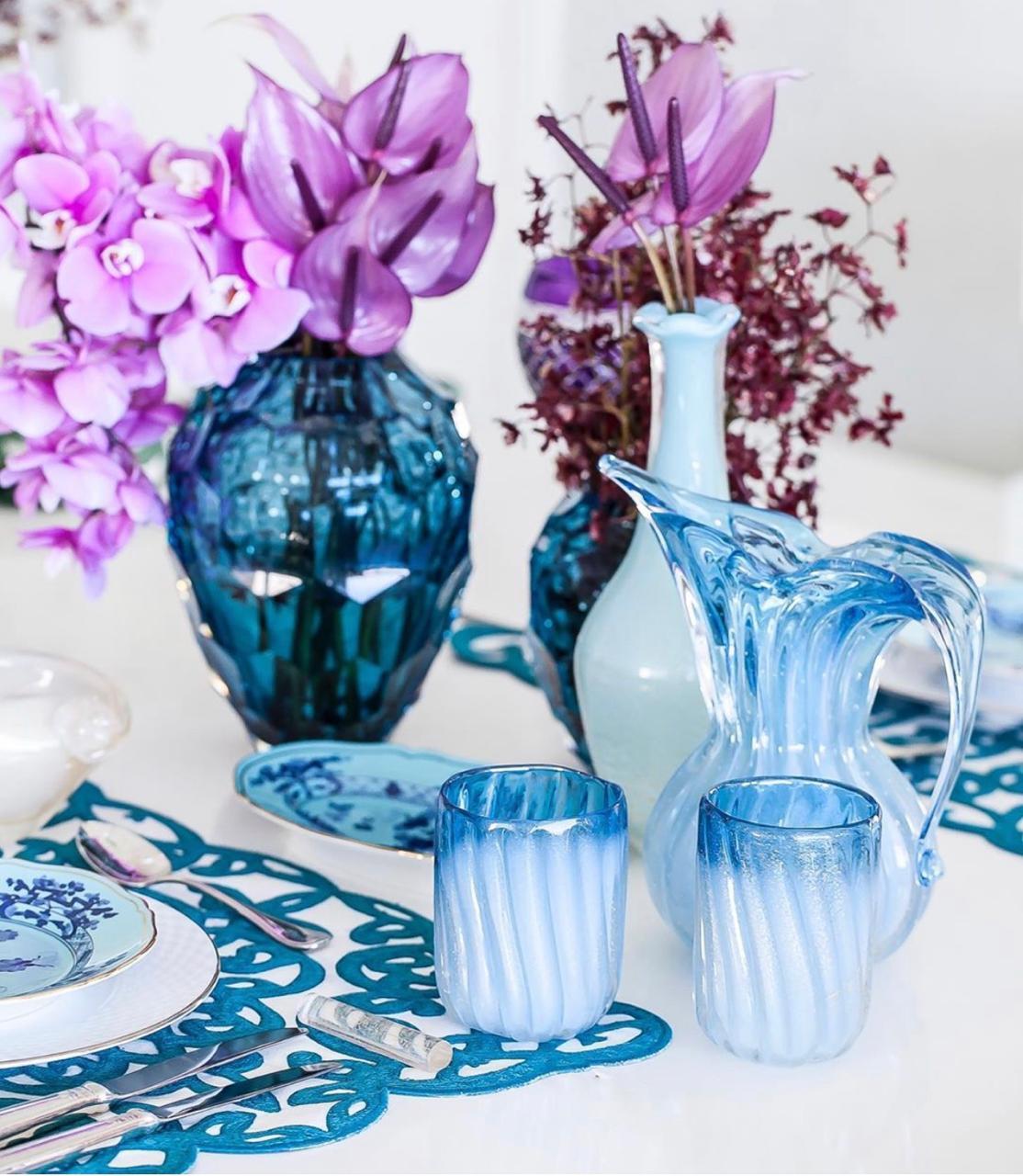 Jarra - Pérola com Azul Acqua