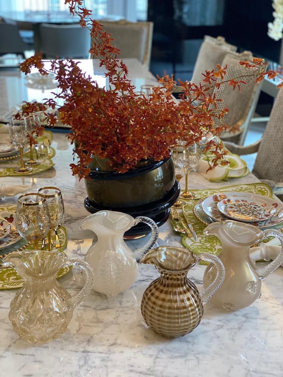 Jarra Vintage - Palha com Ouro com Fio Marrom