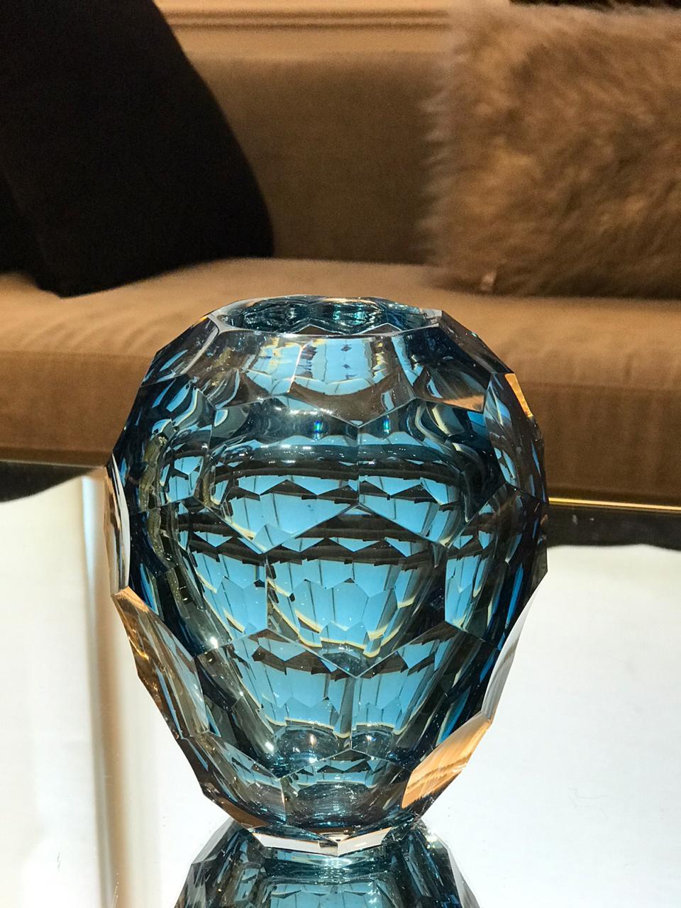 Vaso Diamond Lapidado - Acqua Escuro P