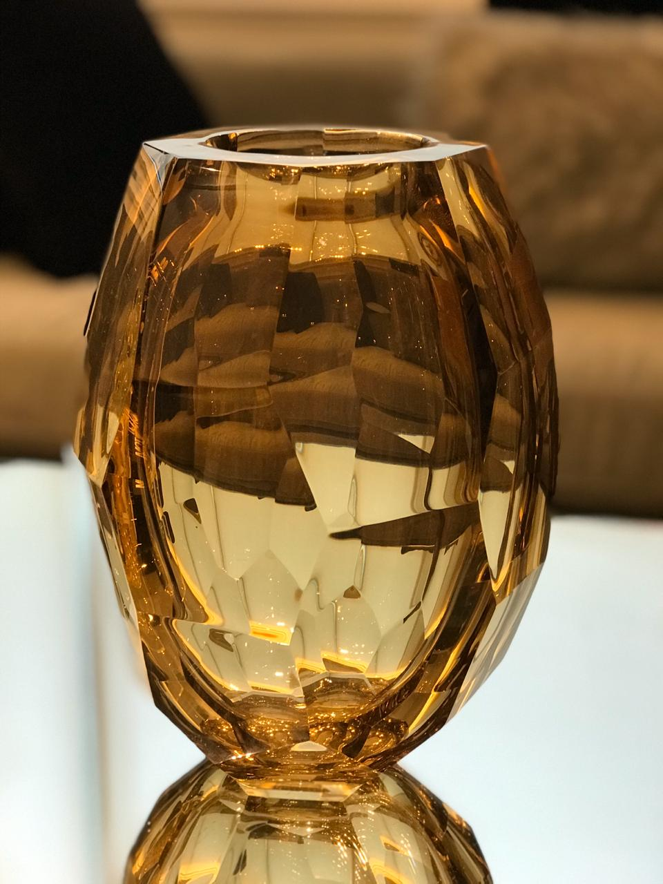 Vaso Diamond Lapidado - Marrom G