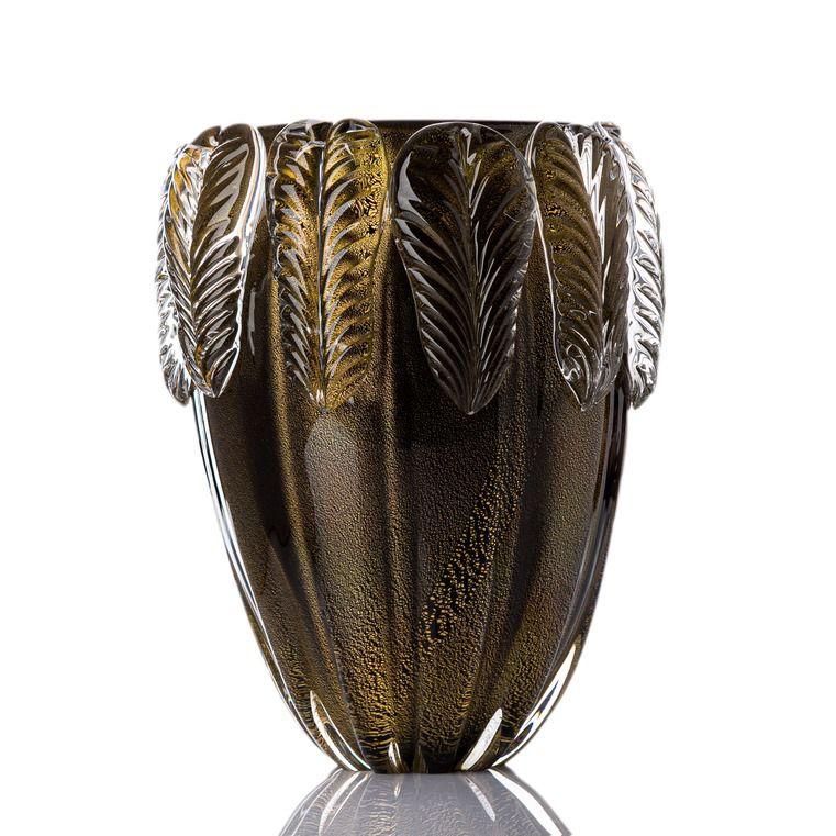 Vaso Foglio - Preto com Ouro - M