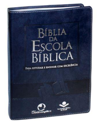 Bíblia da Escola Bíblica com índice - Capa Azul nobre  - Loja Amo Família