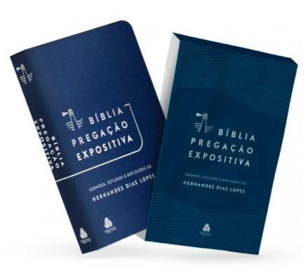 Bíblia Pregação Expositiva | ARA | Letra Normal | PU luxo azul | Hernandes Dias Lopes  - Loja Amo Família