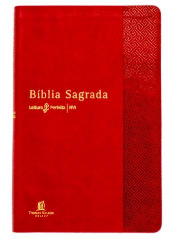 Bíblia Sagrada Leitura Perfeita   NVI   Capa Luxo   Vermelha  - Loja Amo Família