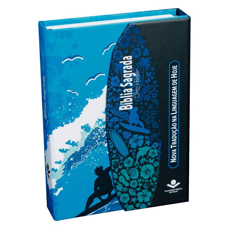 BÍBLIA SAGRADA LETRA MAIOR COM FONTE DE BÊNÇÃOS - Surf CP Dura c/aba e imã  - Loja Amo Família