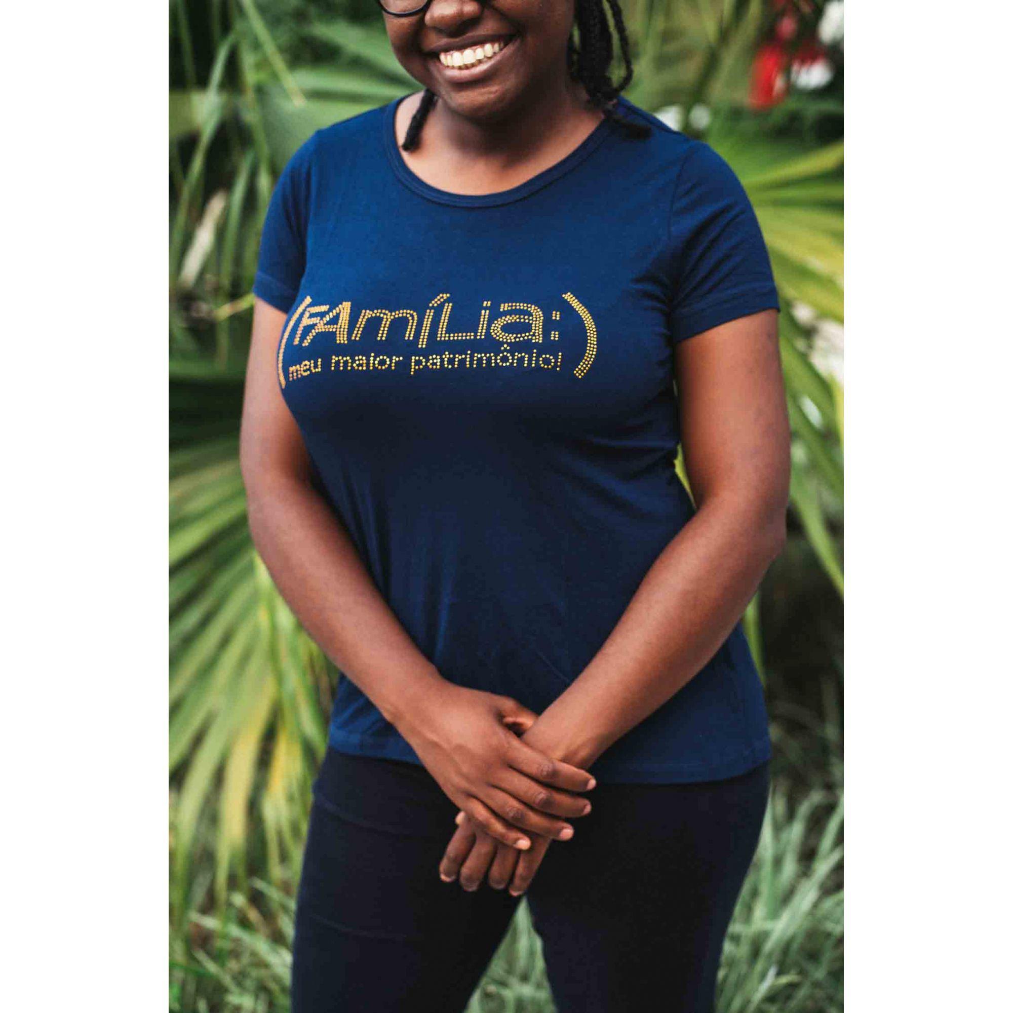 Camiseta Família Meu maior patrimônio feminina - azul  - Loja Amo Família