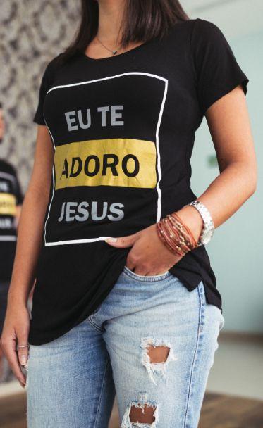 Camiseta Long Feminina Eu te adoro Jesus  - Loja Amo Família