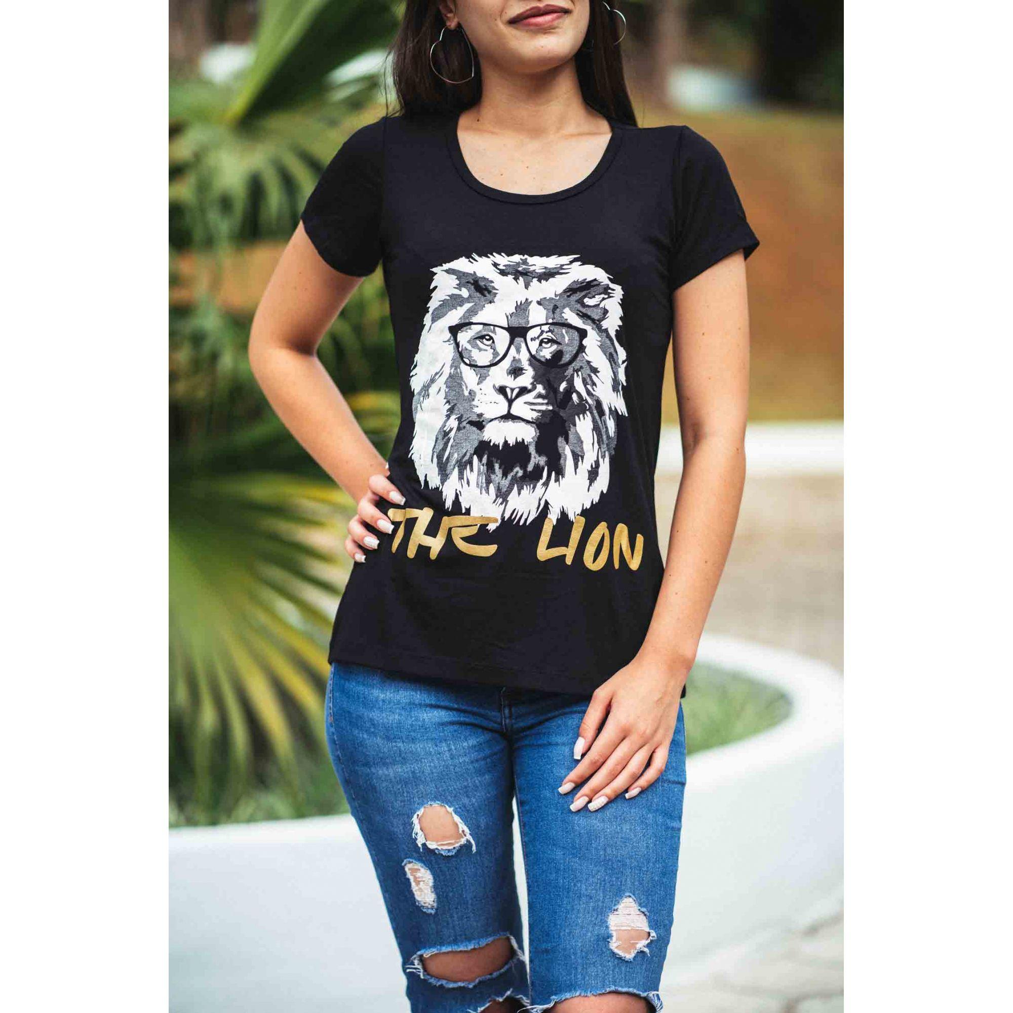 Camiseta The Lion Feminina - preta  - Loja Amo Família