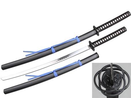 Espada Katana Samurai Preta com Fita Azul Espada 104cm