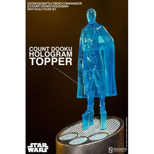 Geonosis Battle Droid Commander & Count Dooku Hologram 1:6 - Sideshow
