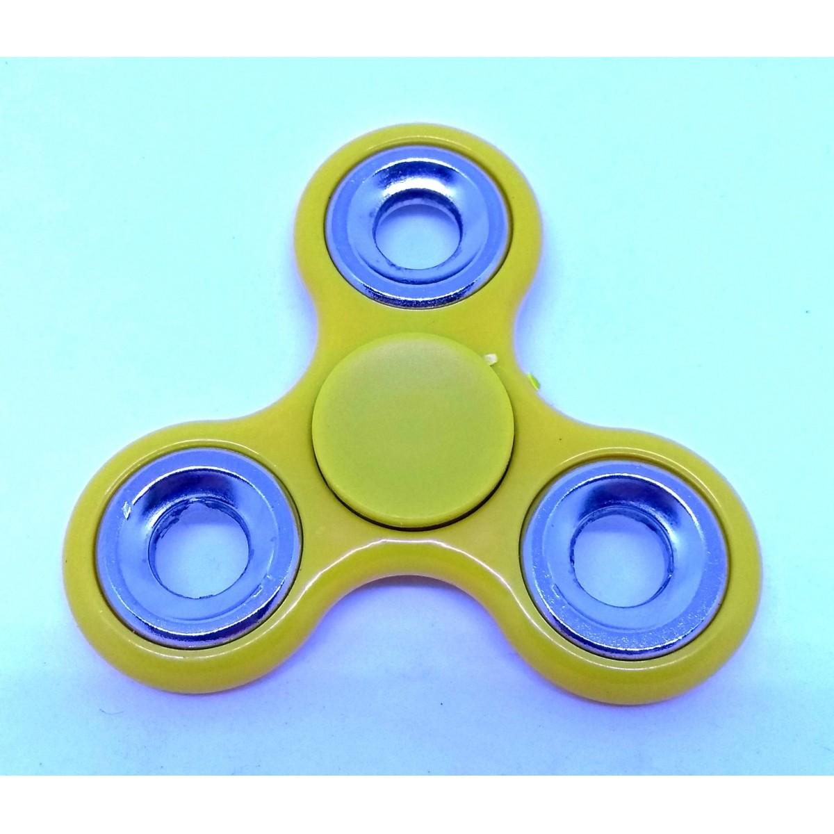 Hand Spinner Amarelo com anel Prata - Rolamento Anti Estresse Fidget Hand Spinner