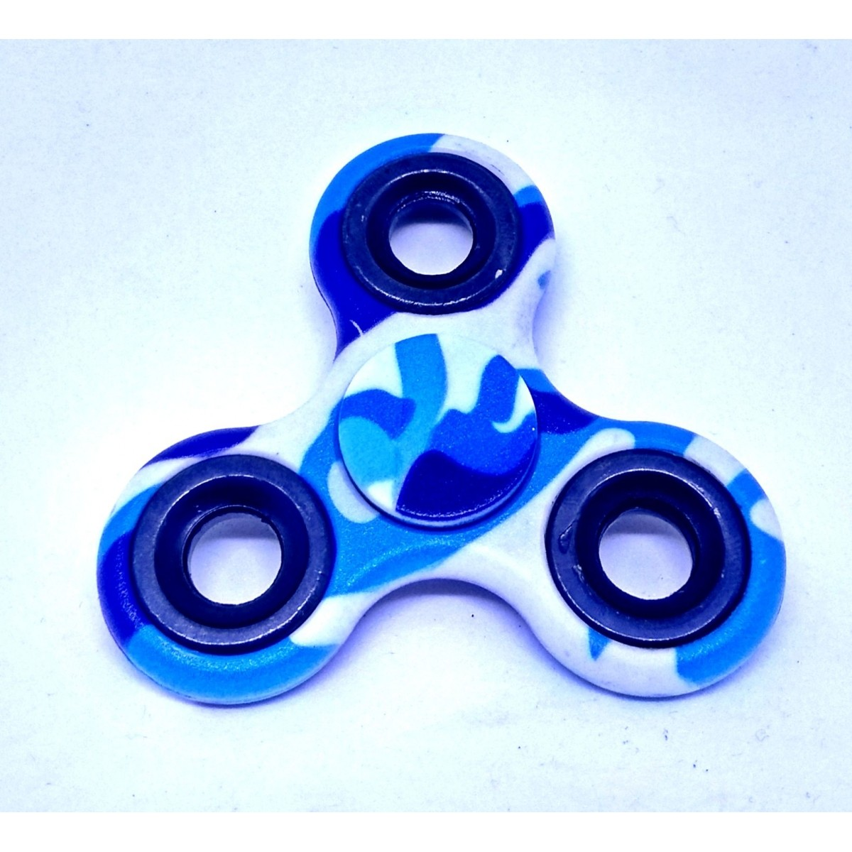 Hand Spinner Azul e Branco - Rolamento Anti Estresse Fidget Hand Spinner