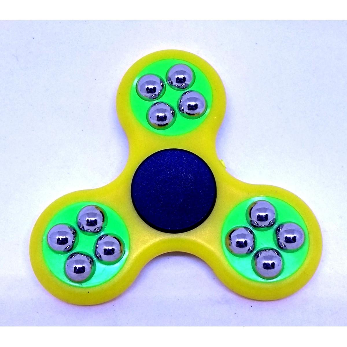 Hand Spinner com bolinhas Amarelo e Verde - Rolamento Anti Estresse Fidget Hand Spinner