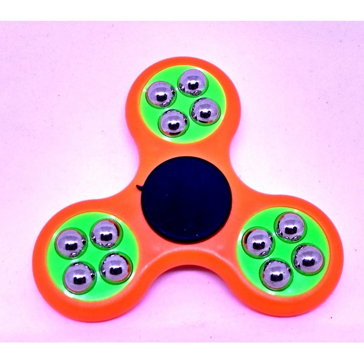 Hand Spinner com bolinhas Laranja e Verde - Rolamento Anti Estresse Fidget Hand Spinner