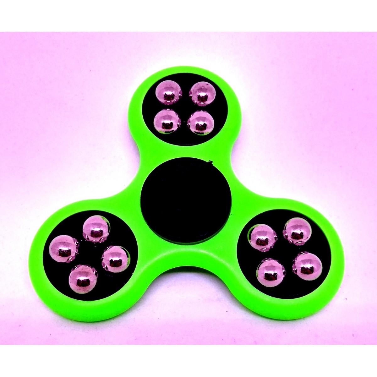 Hand Spinner com bolinhas Verde e Preto - Rolamento Anti Estresse Fidget Hand Spinner