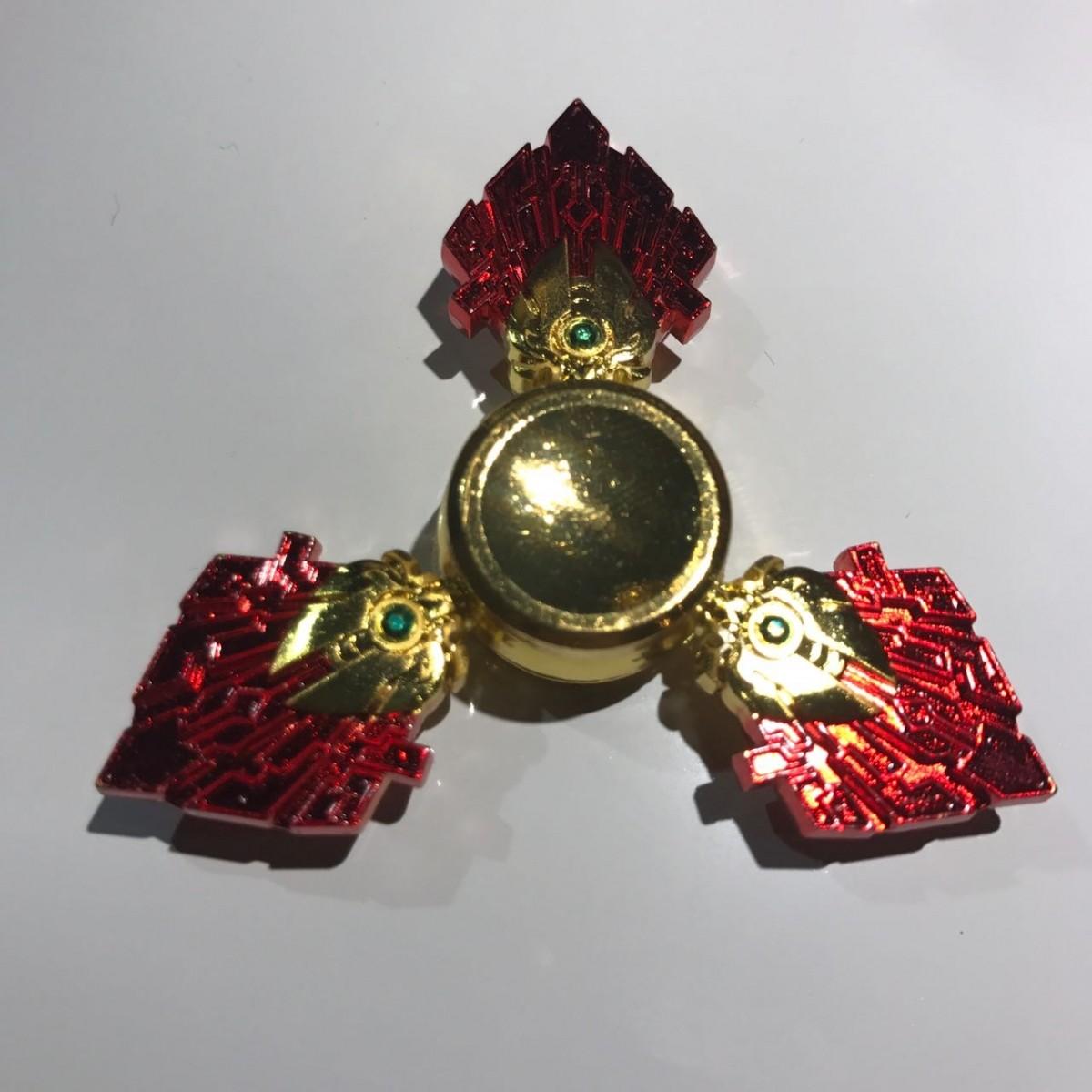 Hand Spinner Cristal Dourado e Vermelho - Rolamento Anti Estresse Fidget Hand Spinner