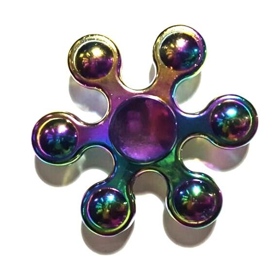 Hand Spinner de Metal Colorido 6 pontas de bolinha - Rolamento Anti Estresse Fidget Hand Spinner