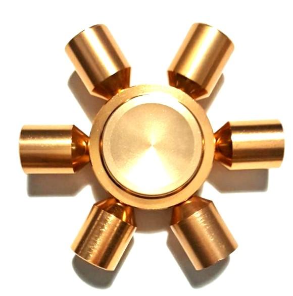 Hand Spinner de Metal Dourado 6 pontas - Rolamento Anti Estresse Fidget Hand Spinner