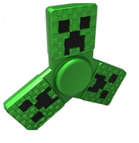 Hand Spinner de Metal Minecraft Verde - Rolamento Anti Estresse Fidget Hand Spinner
