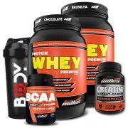 2 Whey Protein 900g + Creatina + Bcaa + Coqueteleira - New Millen
