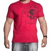 Camiseta Estonada Manga Curta - Vermelha - Black Skull