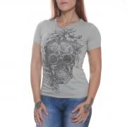 Camiseta Skull Flowers Cinza - Black Skull Clothing