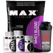Kit Whey Protein Blend 2k + Zma + Bcaa + Creatina - Max Titanium