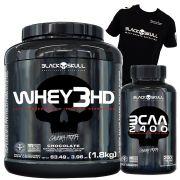 Whey 3HD 1,8kg + BCAA 2400 200 tabletes + Camiseta Black Skull (Brinde)