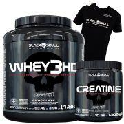 Whey 3HD 1,8kg + Creatine 300g + Camiseta Black Skull (Brinde)