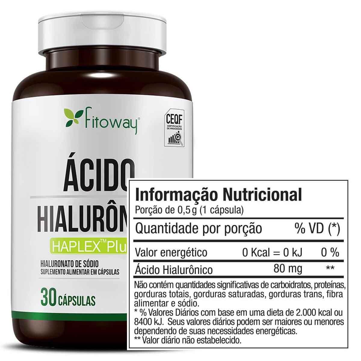 Ácido Hialurônico 80mg 30 cápsulas - Fitoway