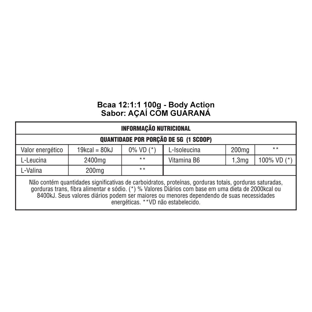 Bcaa 12:1:1 100g - Body Action