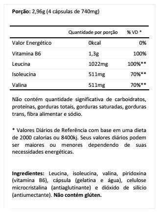 Bcaa 2:1:1 - 2044 mg - 180 Cápsulas - Integral Médica