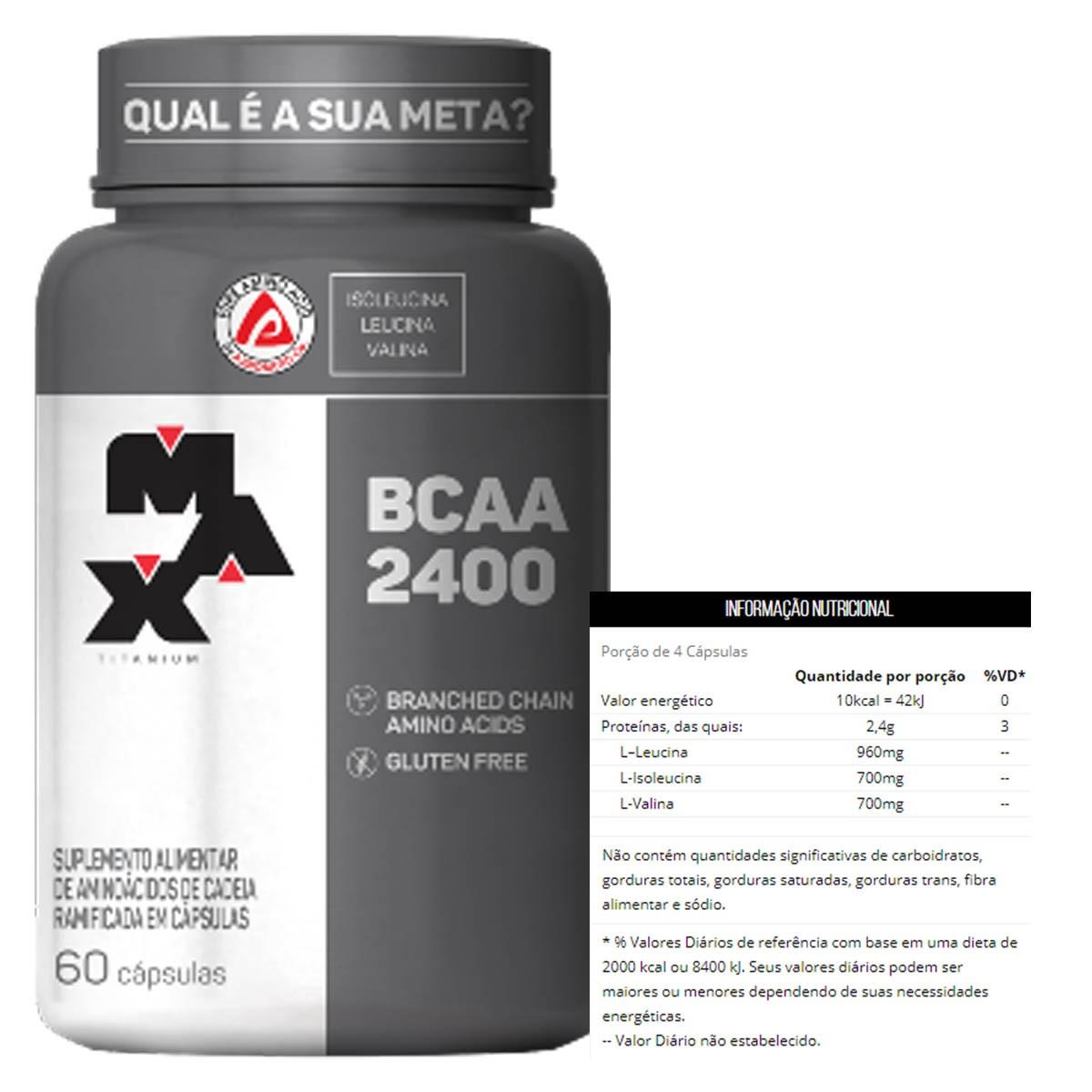 BCAA 2.400 60 Cápsulas - Max Titanium