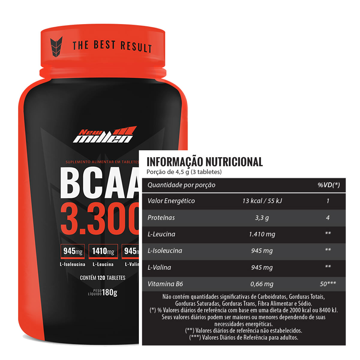 BCAA 3.300mg + D-Ribose 120 Tabletes - New Millen