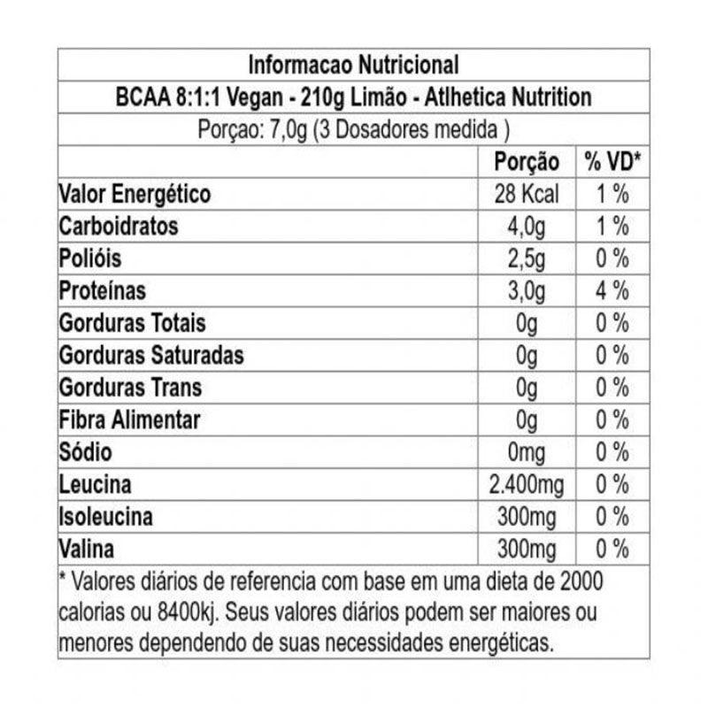 BCAA 8:1:1 Vegan 210g - Atlhetica Nutrition