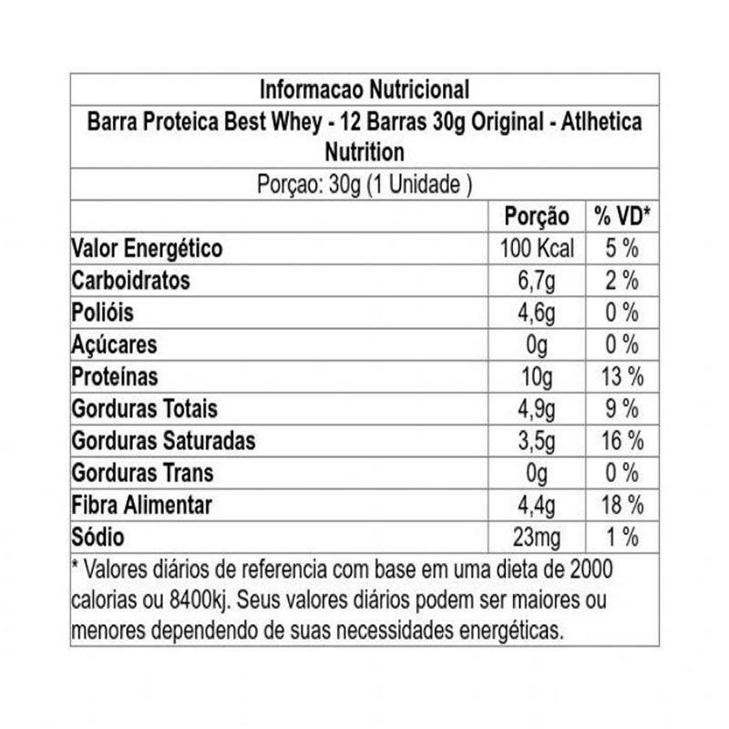 Caixa Best Whey Bar C/ 12 Unidades - Atlhetica Nutrition
