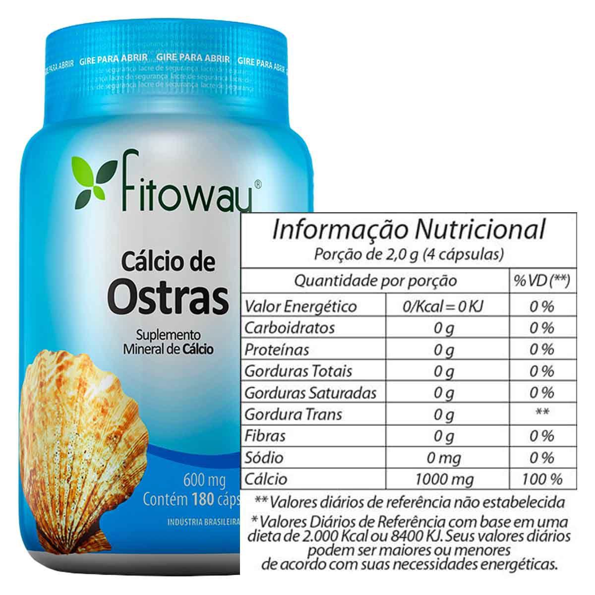 Cálcio de Ostras 600mg 180 cápsulas - Fitoway