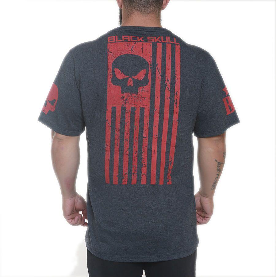 Camiseta American Flag Marinho - Black Skull