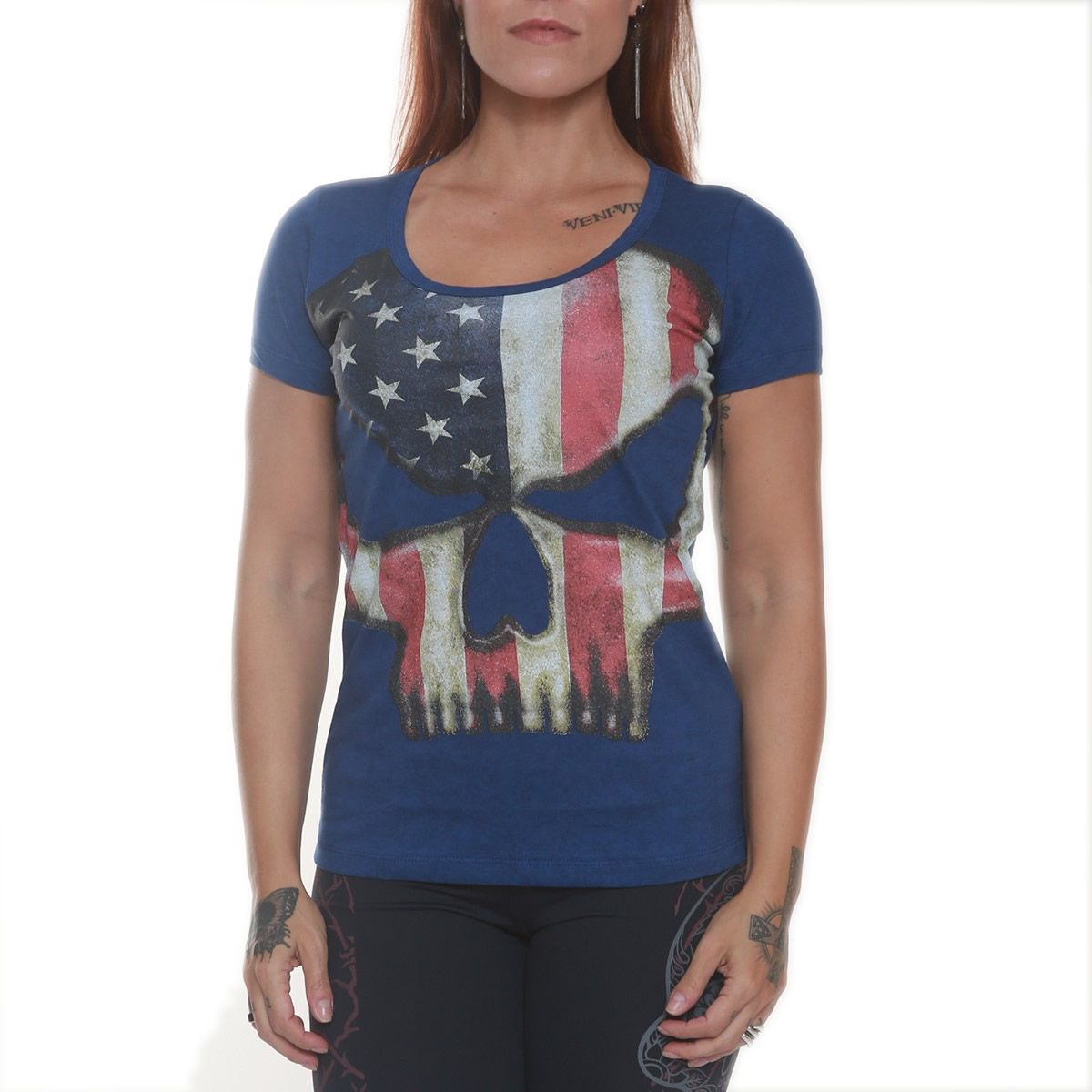 Camiseta Babylook Brach Warren Azul - Black Skull