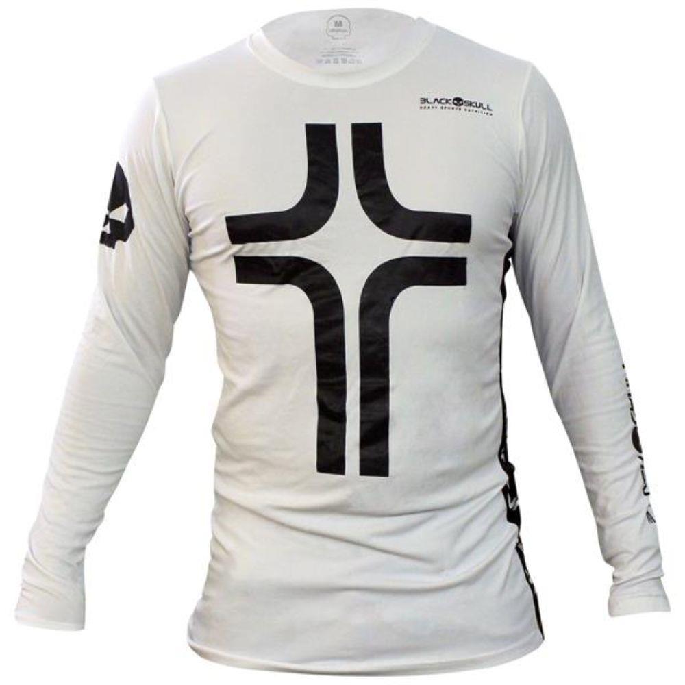 Camiseta Cruz Manga Longa Masculina - Branca - Black Skull