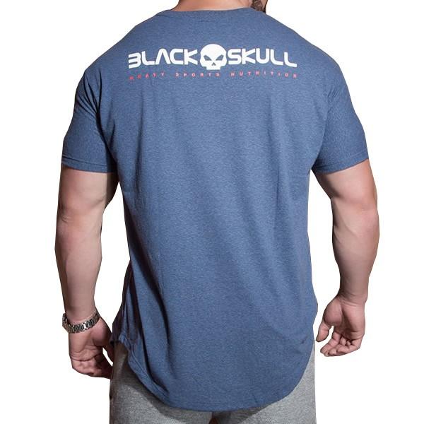 Camiseta Estonada Manga Curta - Azul - Black Skull