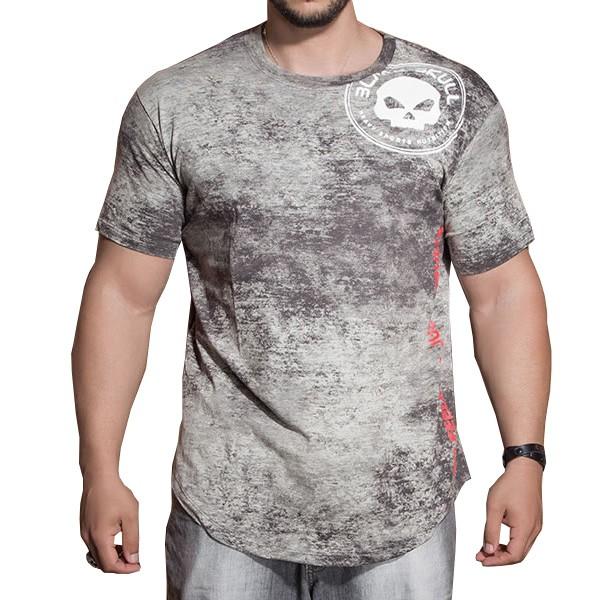 Camiseta Estonada Manga Curta - Chumbo - Black Skull