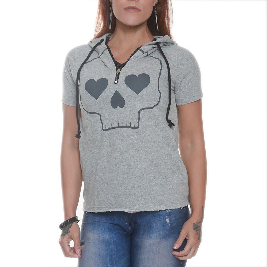 Camiseta Heart Skull Cinza - Black Skull