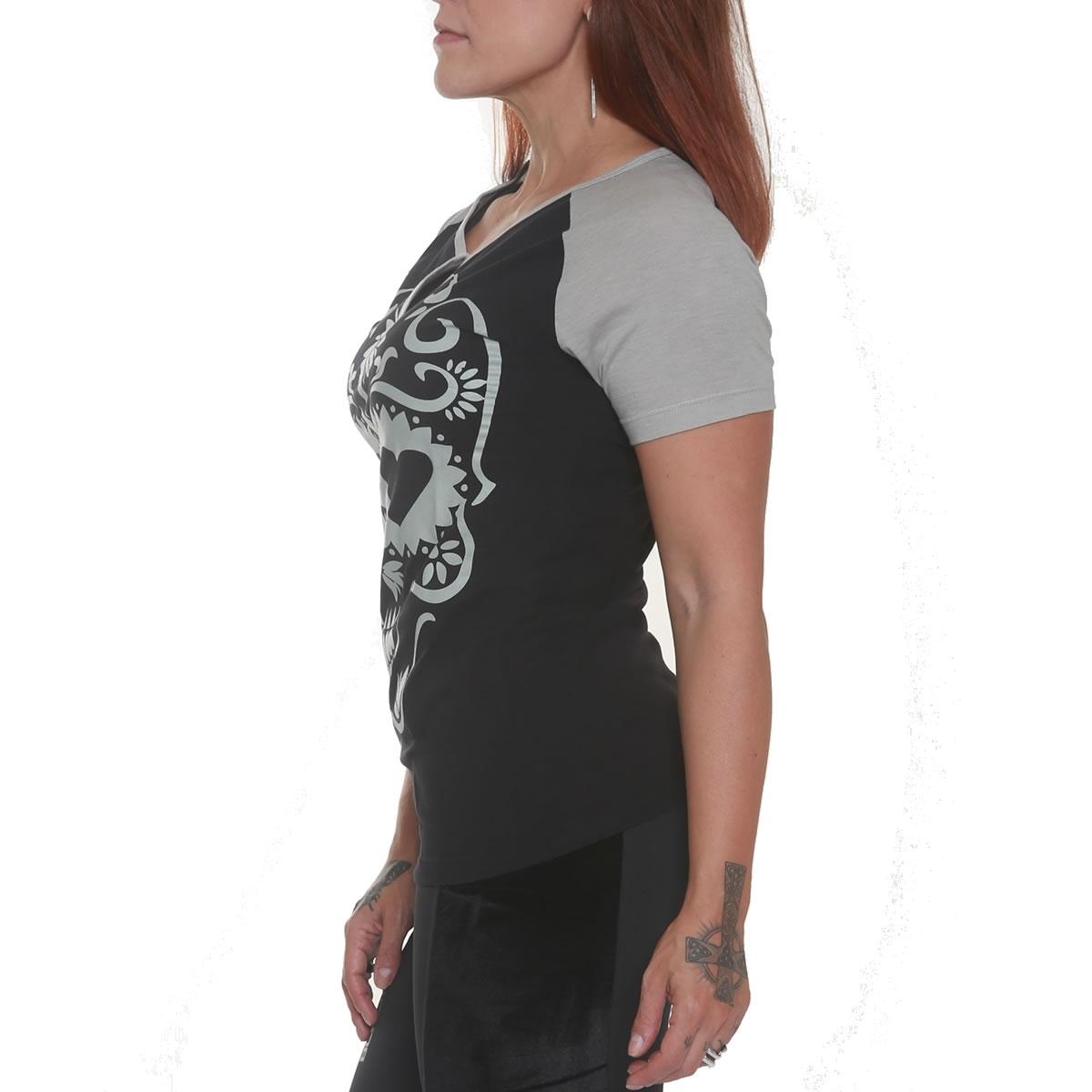 Camiseta Mexican Skull Heart Cinza/Preta - Black Skull Clothing